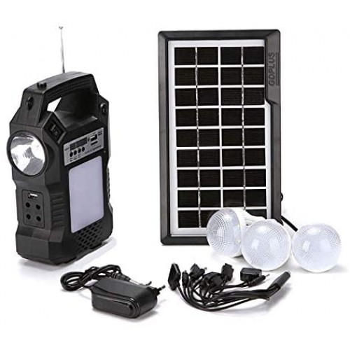 Kit Placa Solar MP3 com 3 lâmpadas, Radio e Carregador de Celular